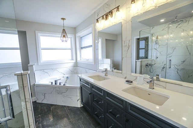 master bath with Jacuzzi tub and double sink vanity